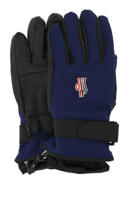 Two-tone leather and nylon blend gloves