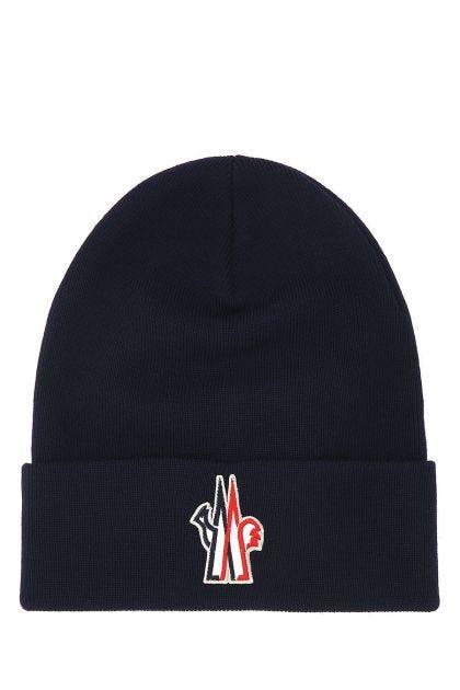 Midnight blue virgin wool beanie hat