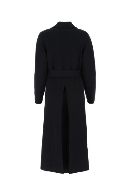 Midnight blue stretch wool blend trench coat