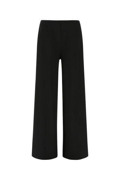 Black stretch wool wide leg pant