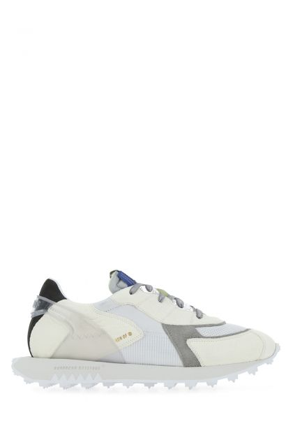 Multicolor leather and fabric sneakers