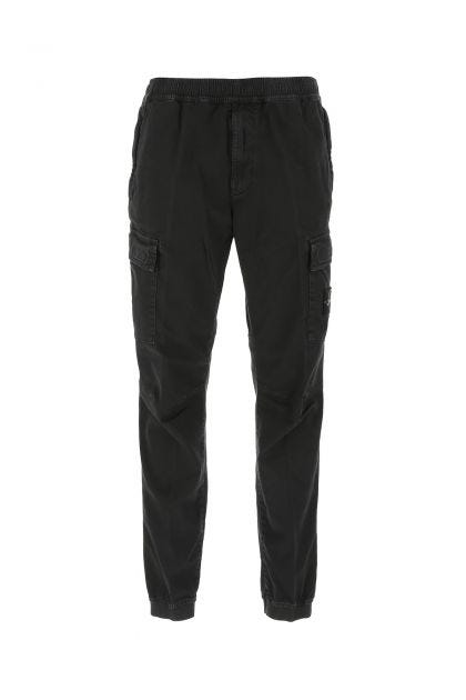 Black cotton stretch cargo pant