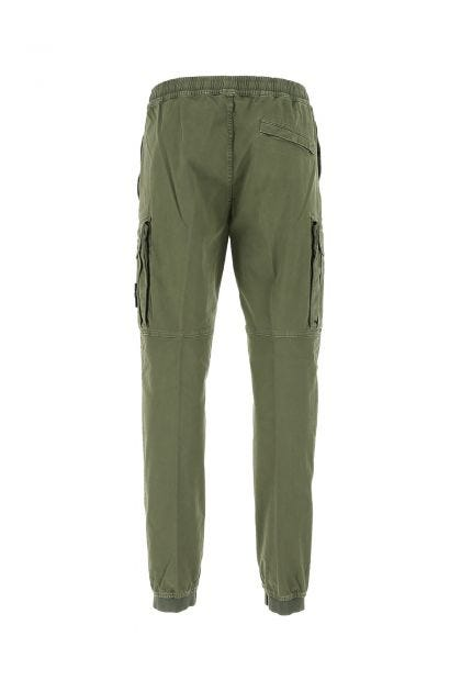 Army green cotton stretch cargo pant