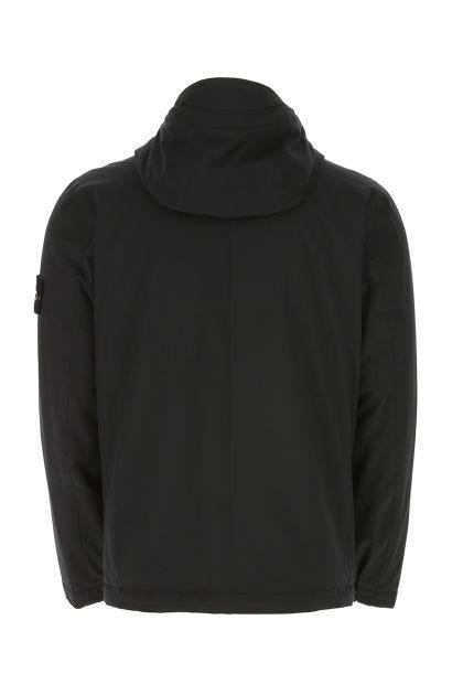 Black stretch polyester padded jacket
