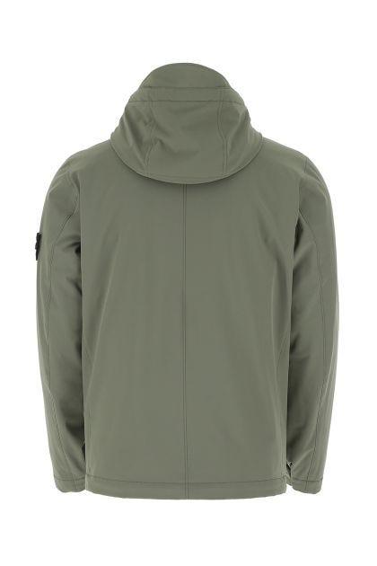 Olive green polyester stretch padded jacket