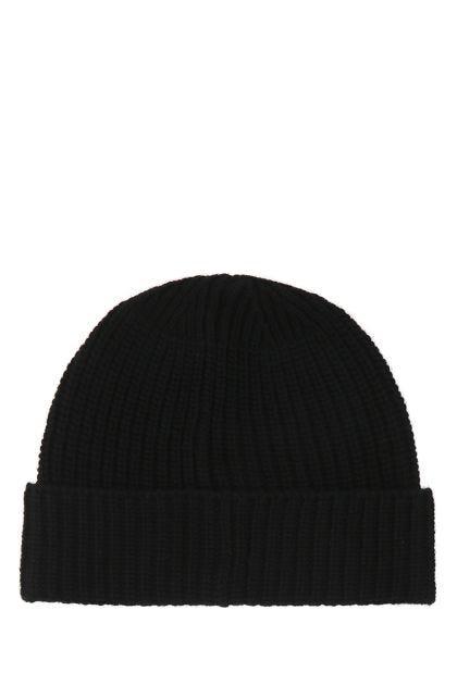 Black wool beanie hat