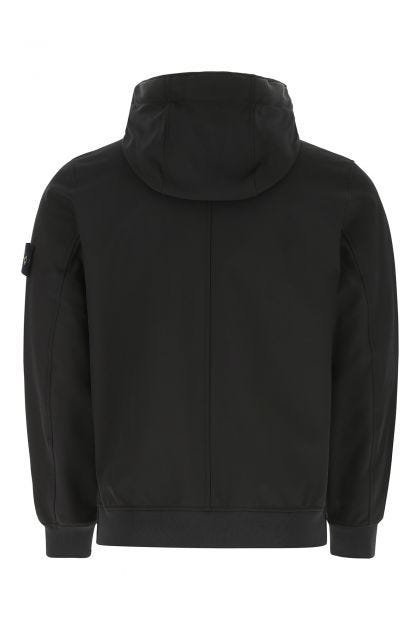 Black polyester stretch windbreaker