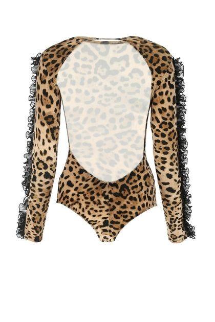 Printed stretch chenille bodysuit