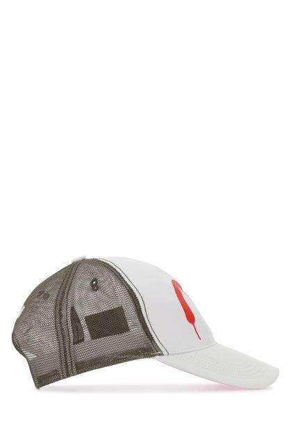 Multicolor cotton and mesh baseball cap
