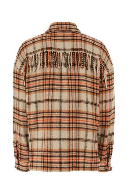 Embroidered nylon blend oversize shirt