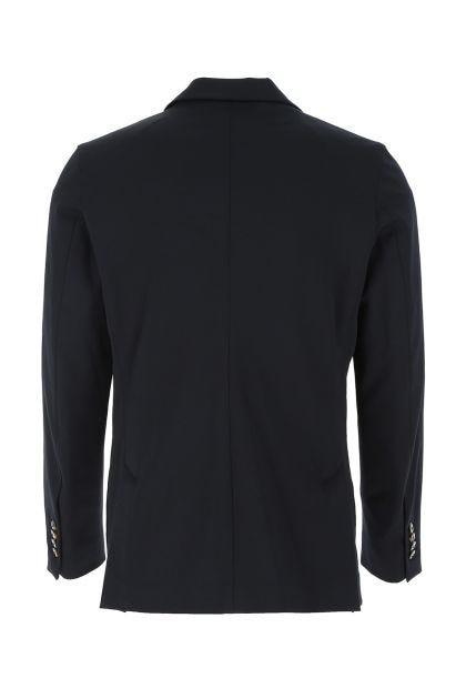 Midnight blue stretch polyester blend blazer