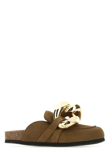 Brown leather Chain mules