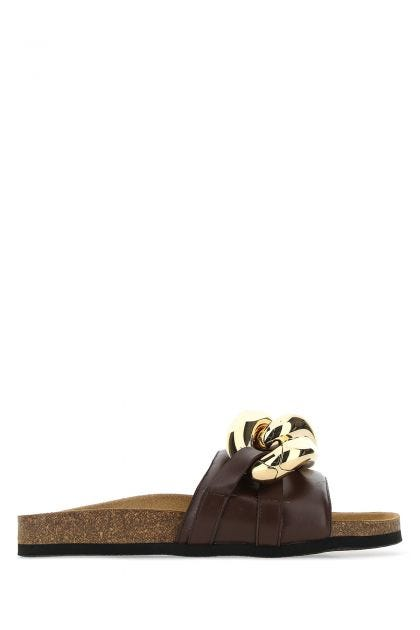 Brown leather Chain slippers