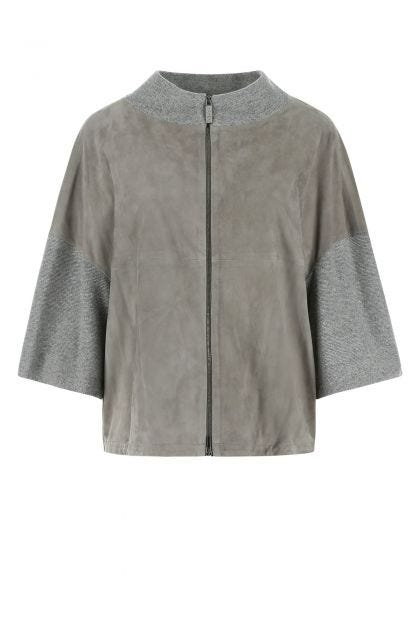 Grey suede and wool blend jacket