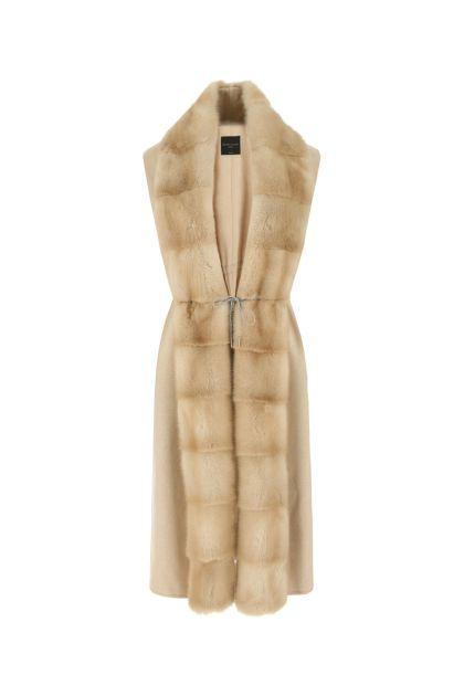 Sand cashmere sleeveless coat