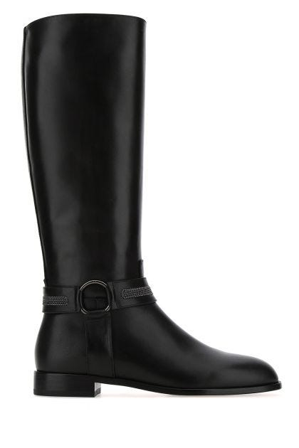 Black nappa leather boots