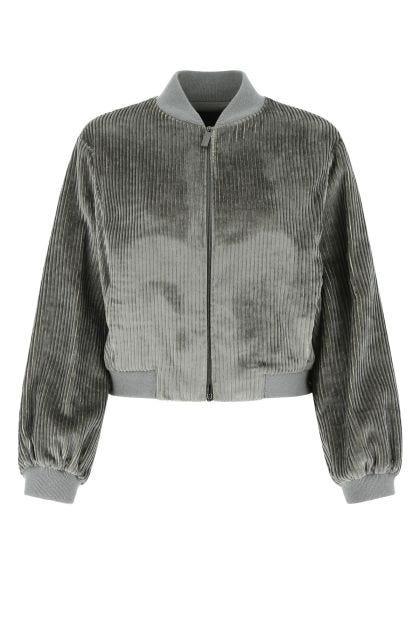 Grey chenille bomber jacket