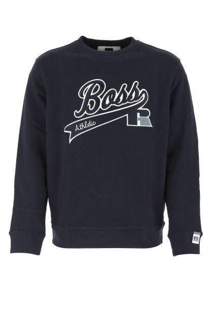 Midnight blue cotton blend sweatshirt
