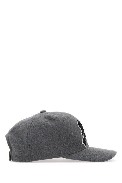 Melange grey polyester baseball cap