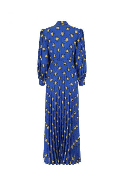 Printed stretch crepe long dress