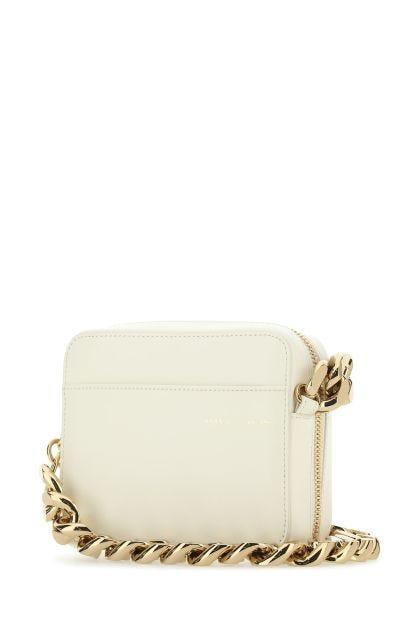 Cream leather crossbody bag