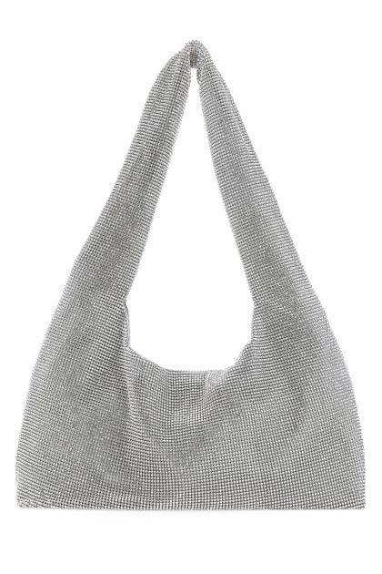 Silver crystal Crystal Mesh shoulder bag