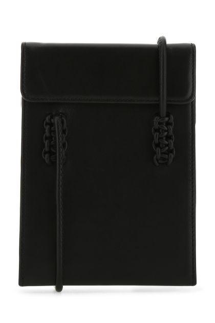 Black nappa leather shoulder bag