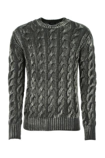 Melange green wool blend sweater