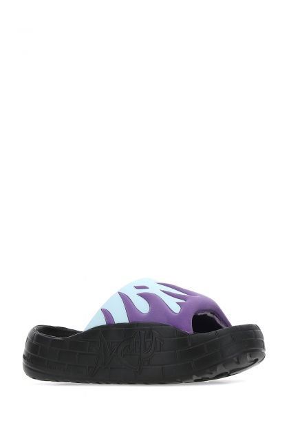 Multicolor rubber and fabric slippers