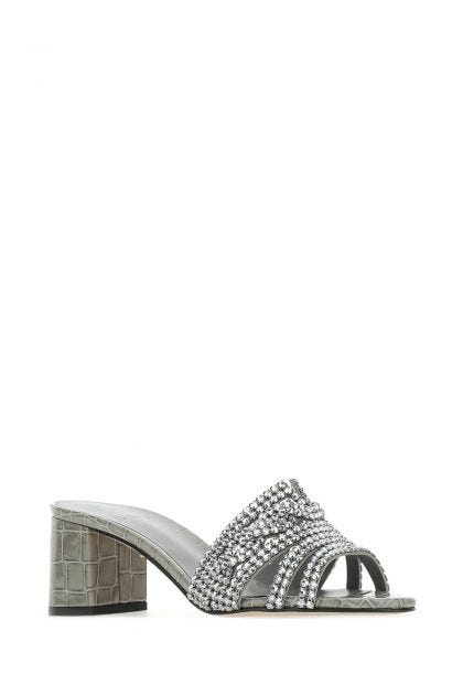 Grey leather Visage mules