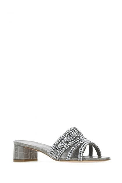 Grey leather Rodeo mules