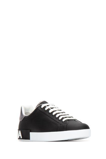 Black leather Portofino sneakers