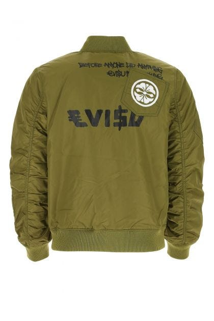 Army green nylon reversible bomber jacket