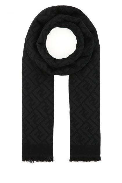 Black silk blend scarf