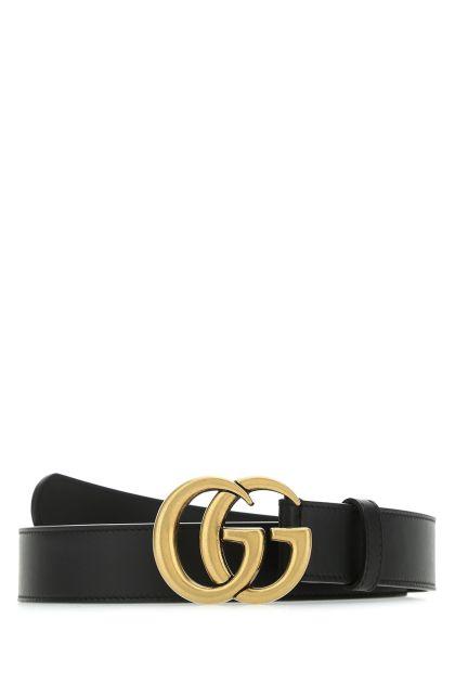 Black leather GG Marmont belt
