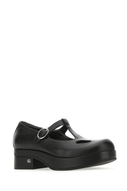 Black nappa leather pumps