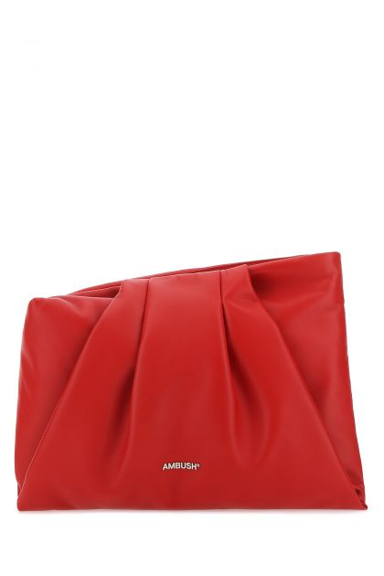 Red nappa leather maxi Wrap clutch