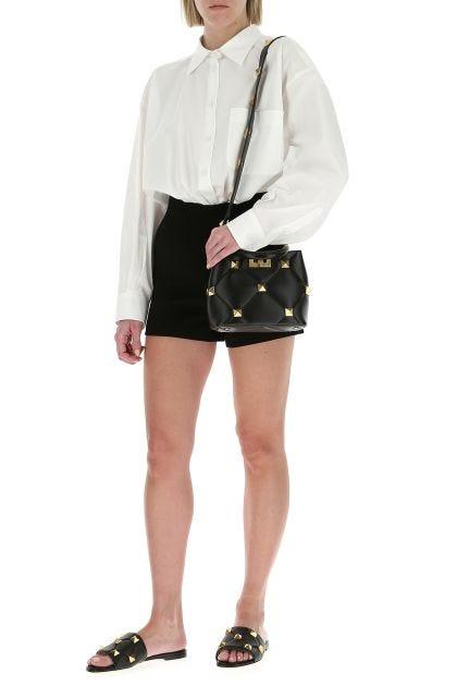 Black stretch wool blend shorts