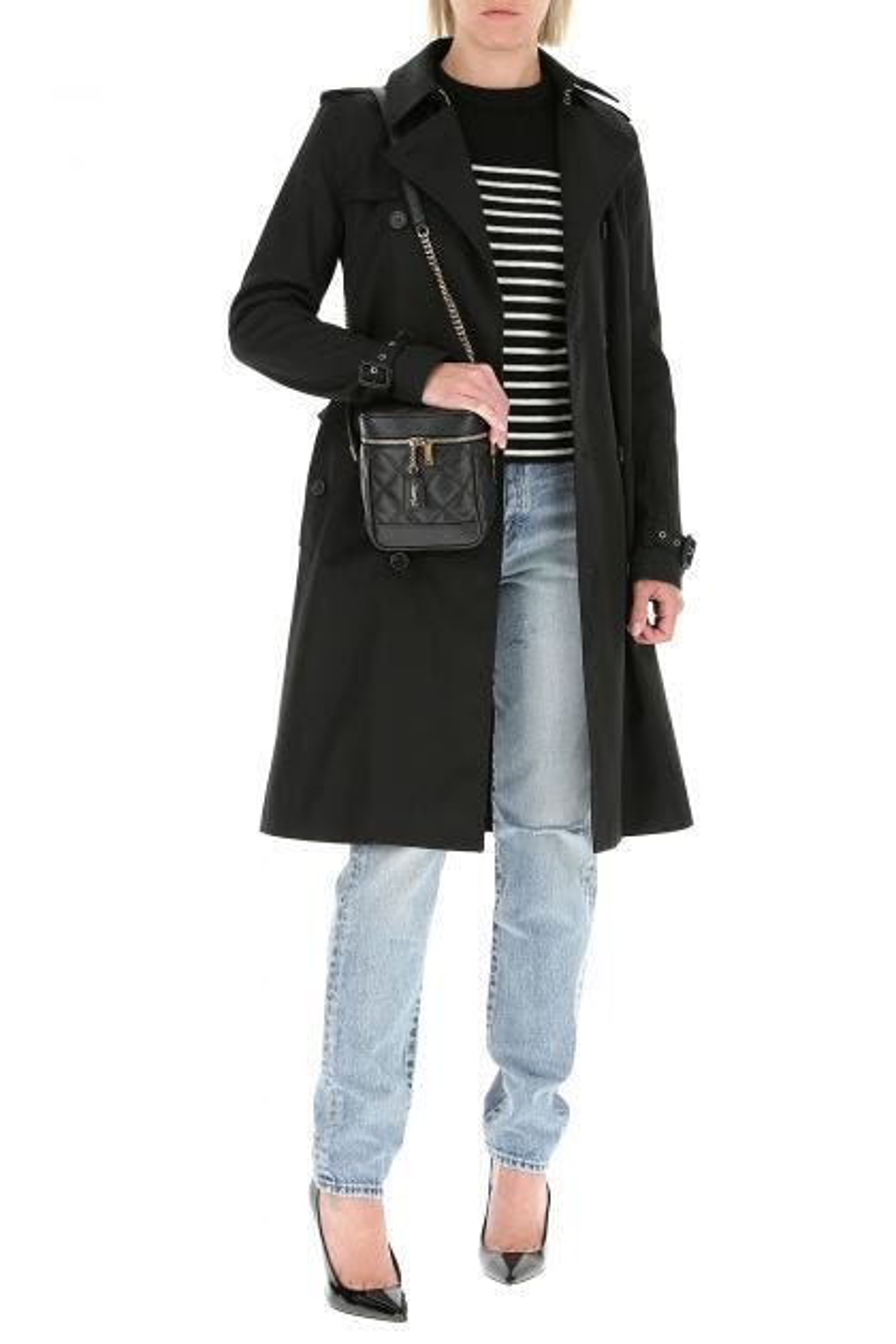 Black polyester blend trench coat