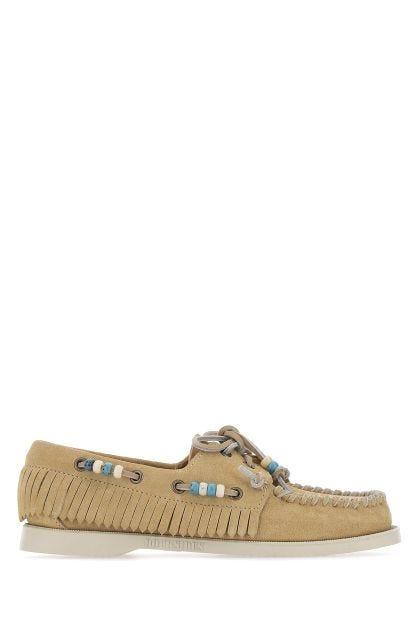 Beige leather Docksides Portland loafers