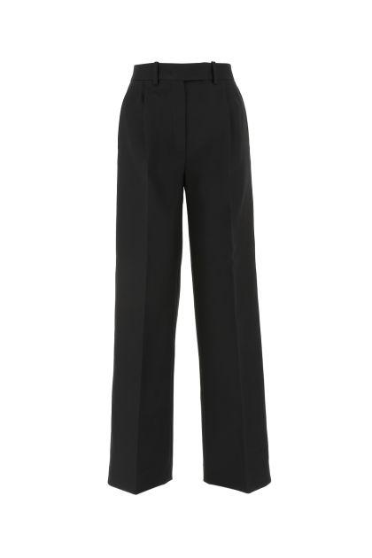 Black wool blend wide-leg pant