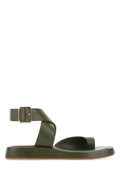 Army green leather Rosie 4 thong sandals