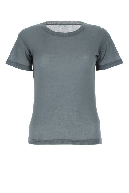 Air force blue cotton blend t-shirt