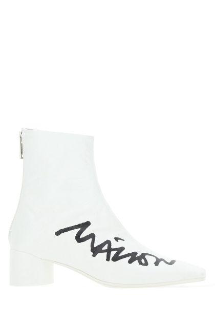White polyurethane boots