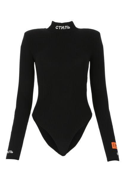 Black viscose blend bodysuit