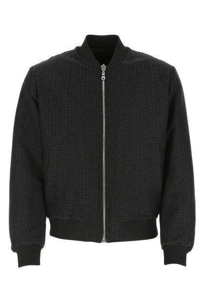 Embroidered linen blend padded jacket