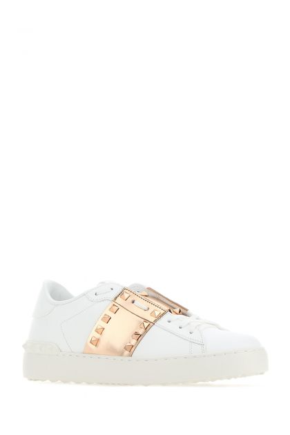 White leather Rockstud Untitled sneakers with laminated band