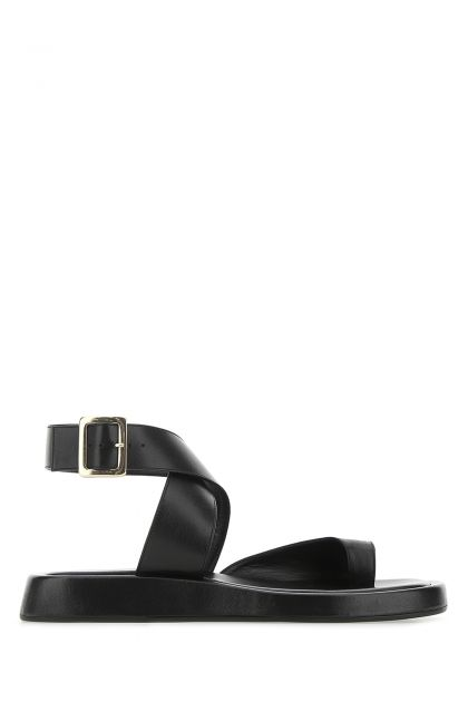 Black leather Rosie 4 thong sandals