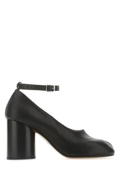 Black leather Tabi pumps
