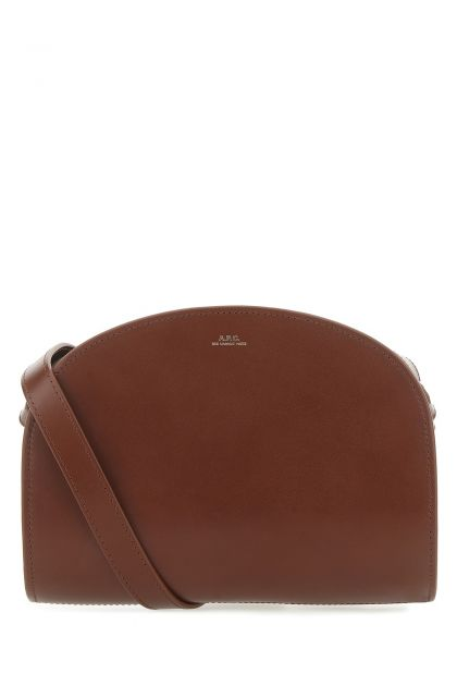 Brown leather Demi Lune crossbody bag